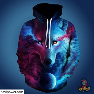 3D Ice & Fire Wolf Hoodie