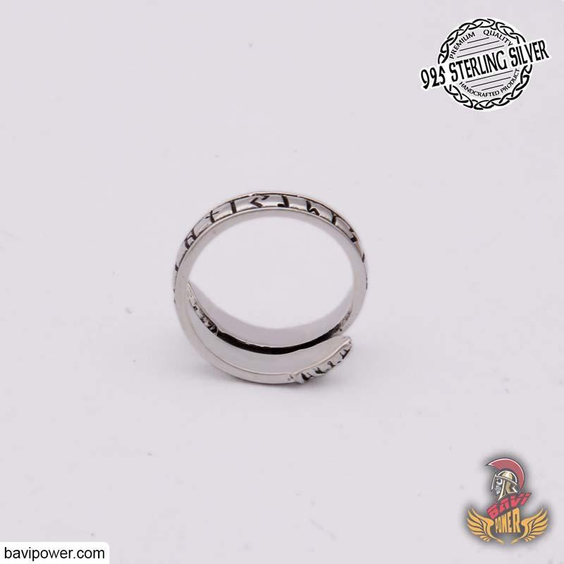 925 Sterling Silver Adjustable Rune Ring