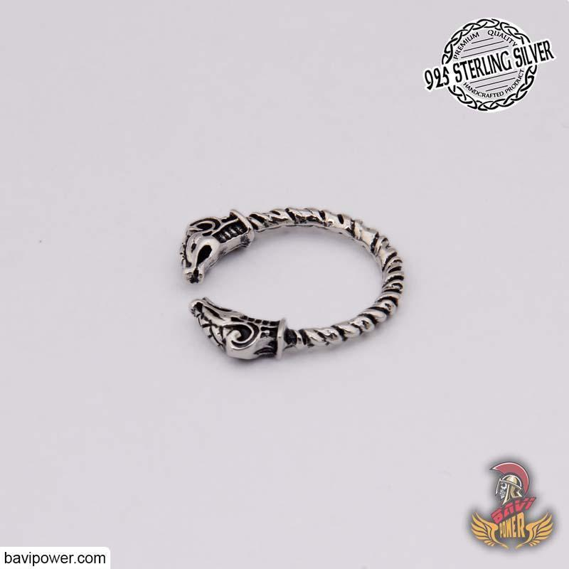 925 Sterling Silver Double Dragon Head Ring