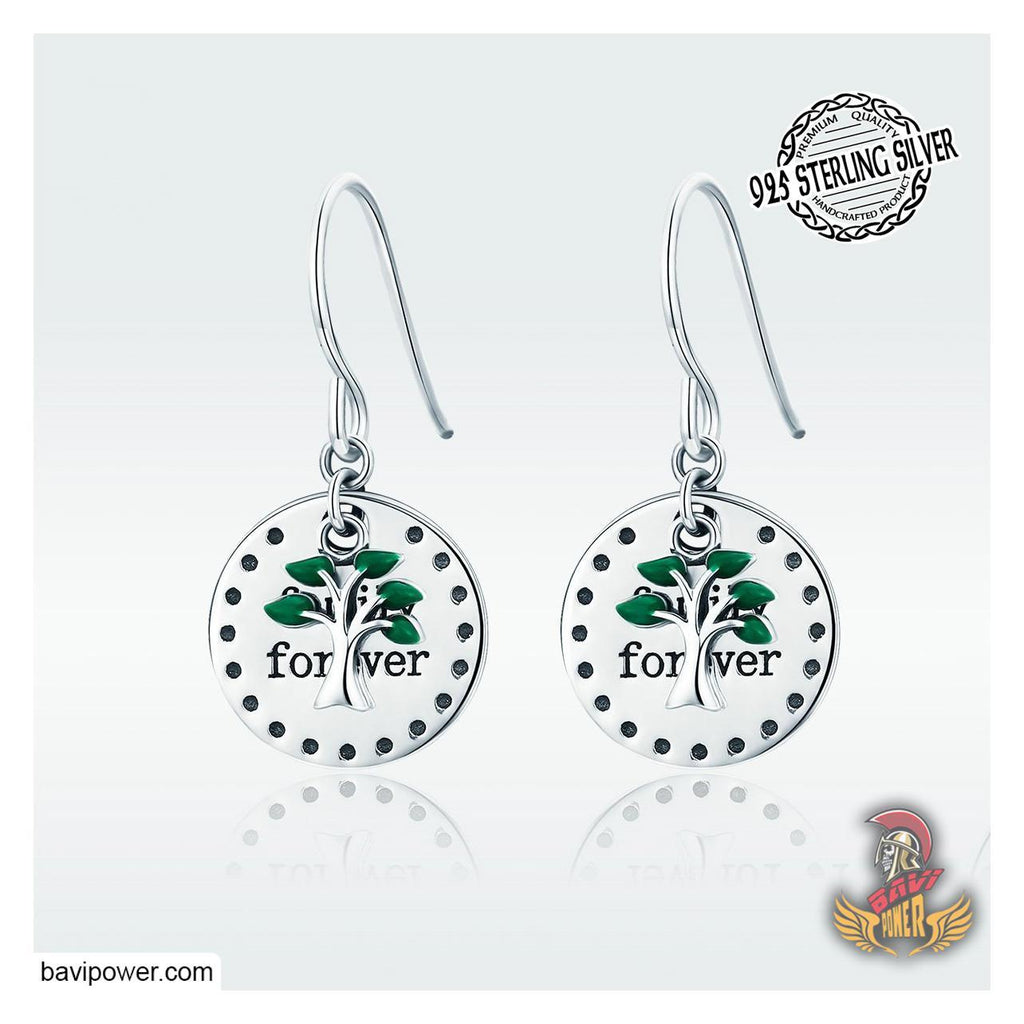 925 Sterling Silver Family Forever Tree of Life Drop Earrings