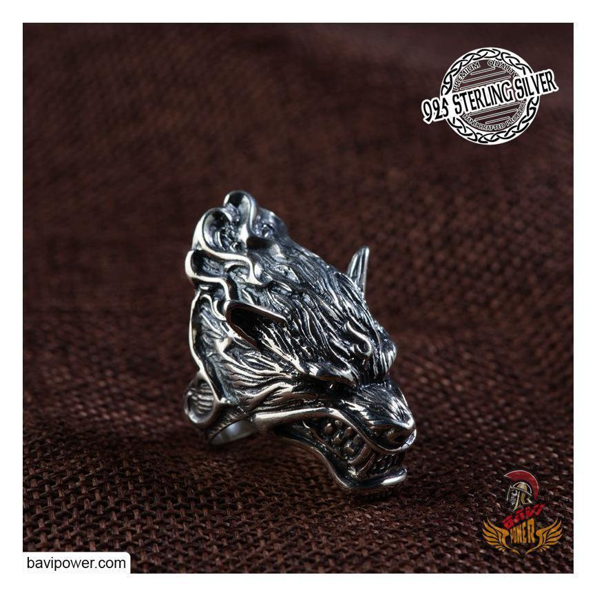 925 Sterling Silver Fenrir Wolf Head Ring