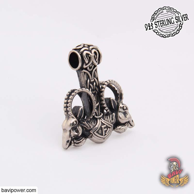 925 Sterling Silver Goat Head Thor Hammer Pendant
