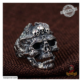 925 Sterling Silver Gothic Skull Ring For Men