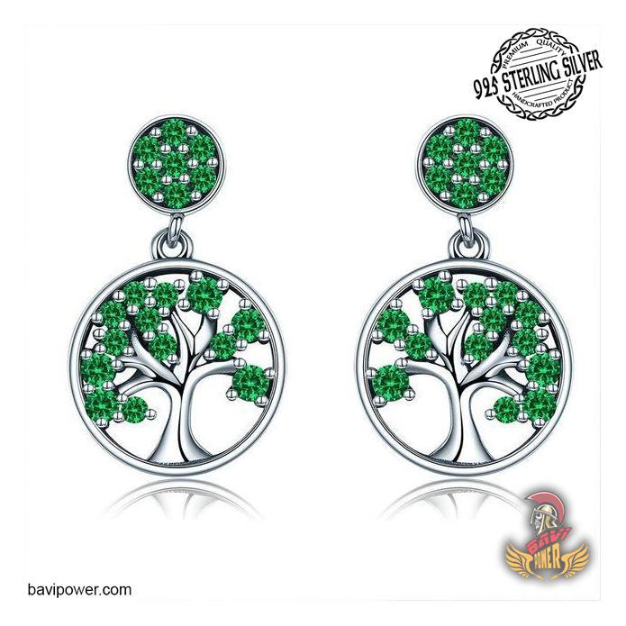 925 Sterling Silver Green Tree of Life Drop Earrings for Women