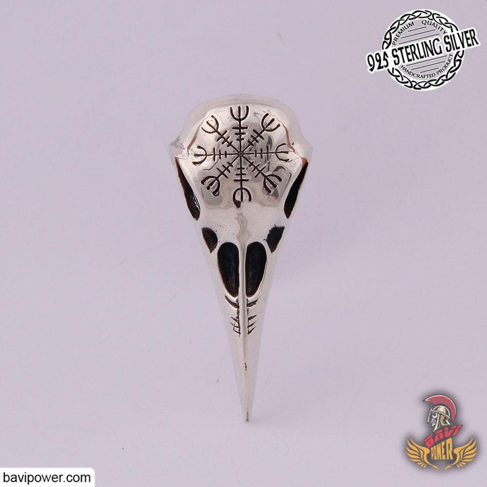 925 Sterling Silver Helm of Awe Raven Skull Pendant