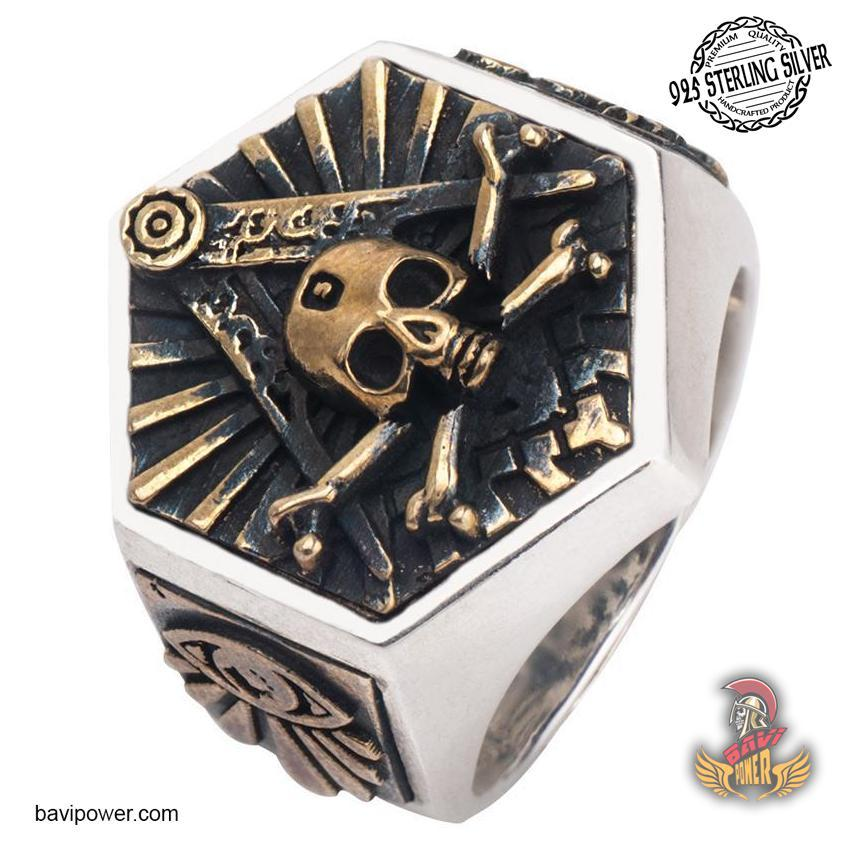 925 Sterling Silver Hexagon Freemasonic Skull Ring