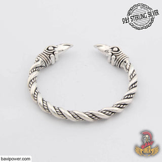 925 Sterling Silver Huginn and Muninn Raven Head Bracelet
