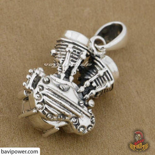 925 Sterling Silver Motor Engine Pendant