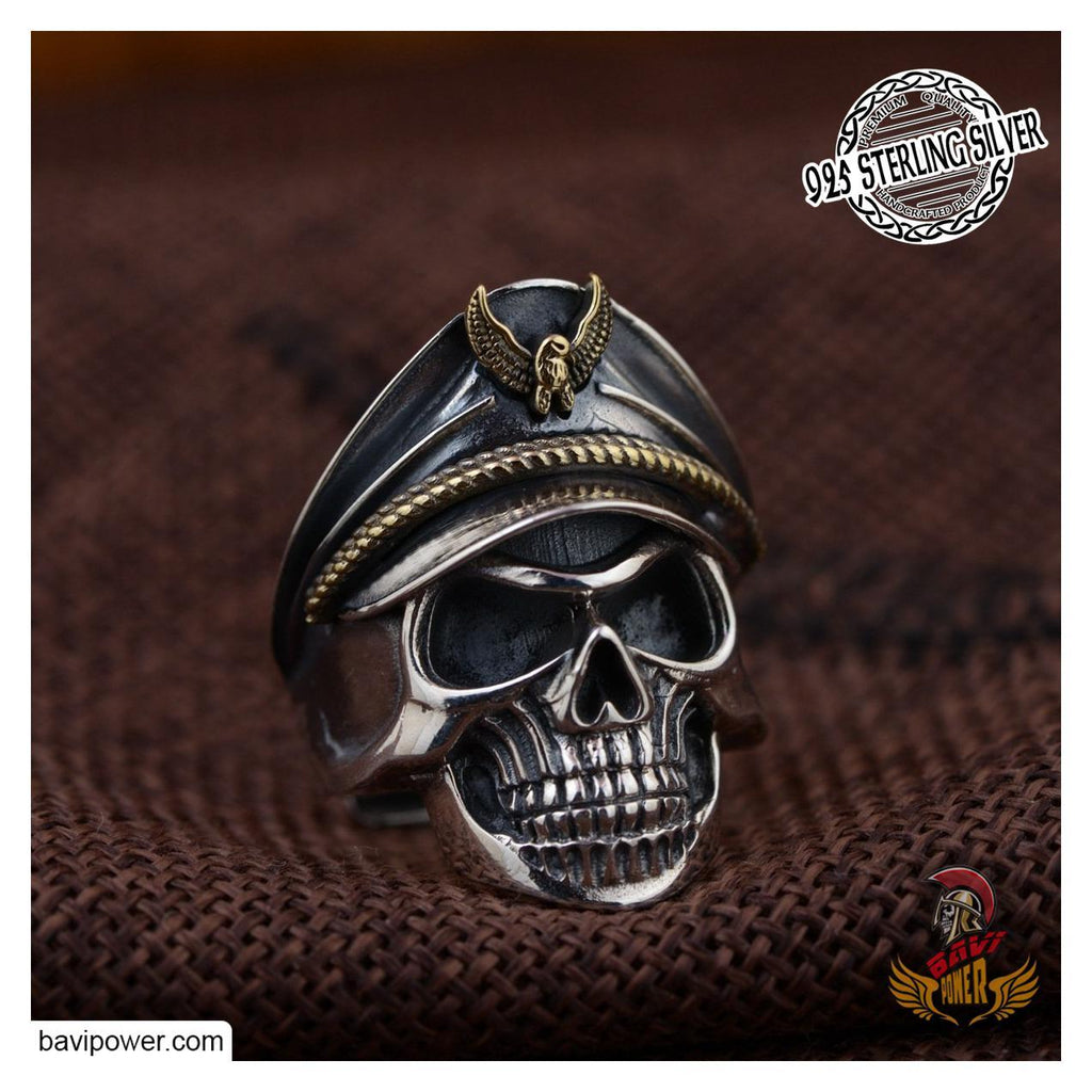 925 Sterling Silver Officer Skull Ring