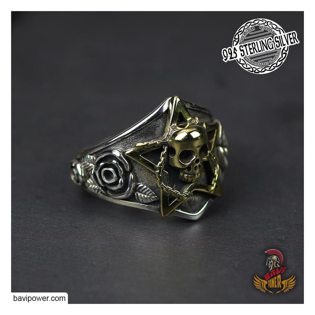 925 Sterling Silver Pentagram Skull Ring