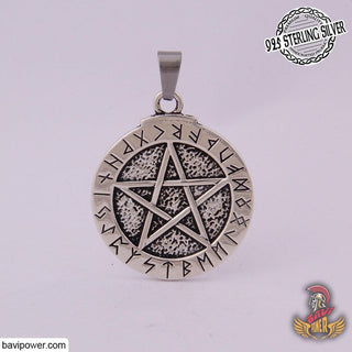 925 Sterling Silver Pentagram with Rune Circle Pendant