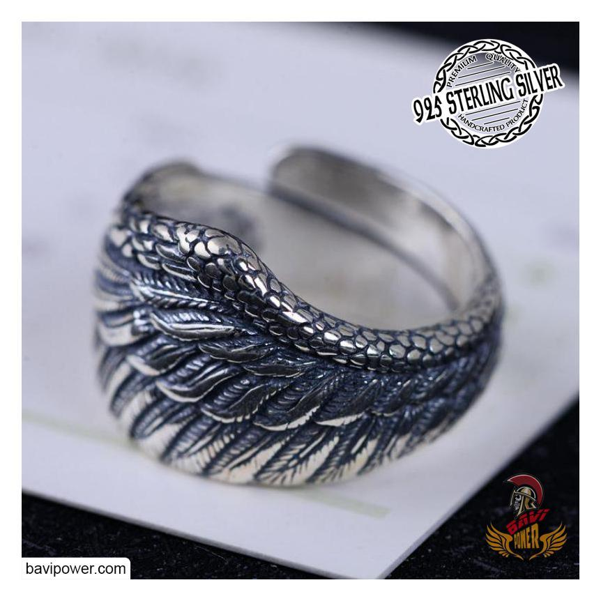 925 Sterling Silver Raven Wing Ring