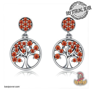 925 Sterling Silver Red Tree of Life Drop Earrings for Women