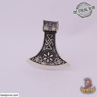 925 Sterling Silver Runic Battle Axe Pendant