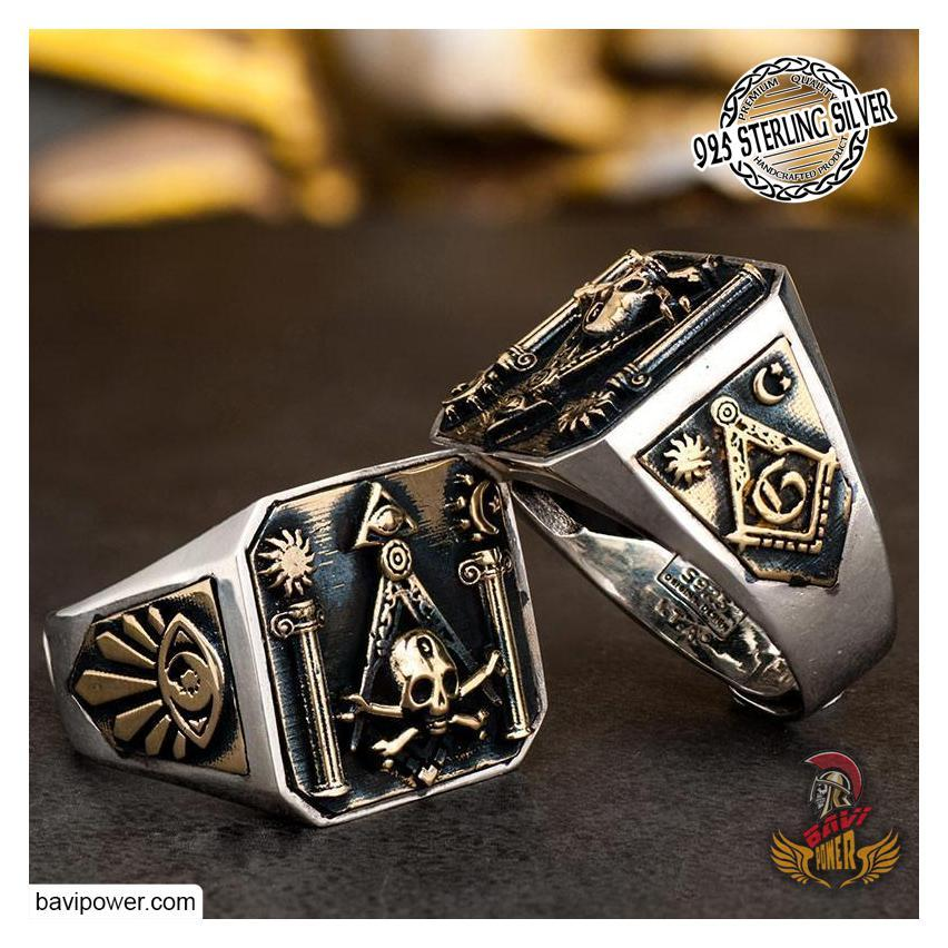 925 Sterling Silver Skull Freemasonry Ring