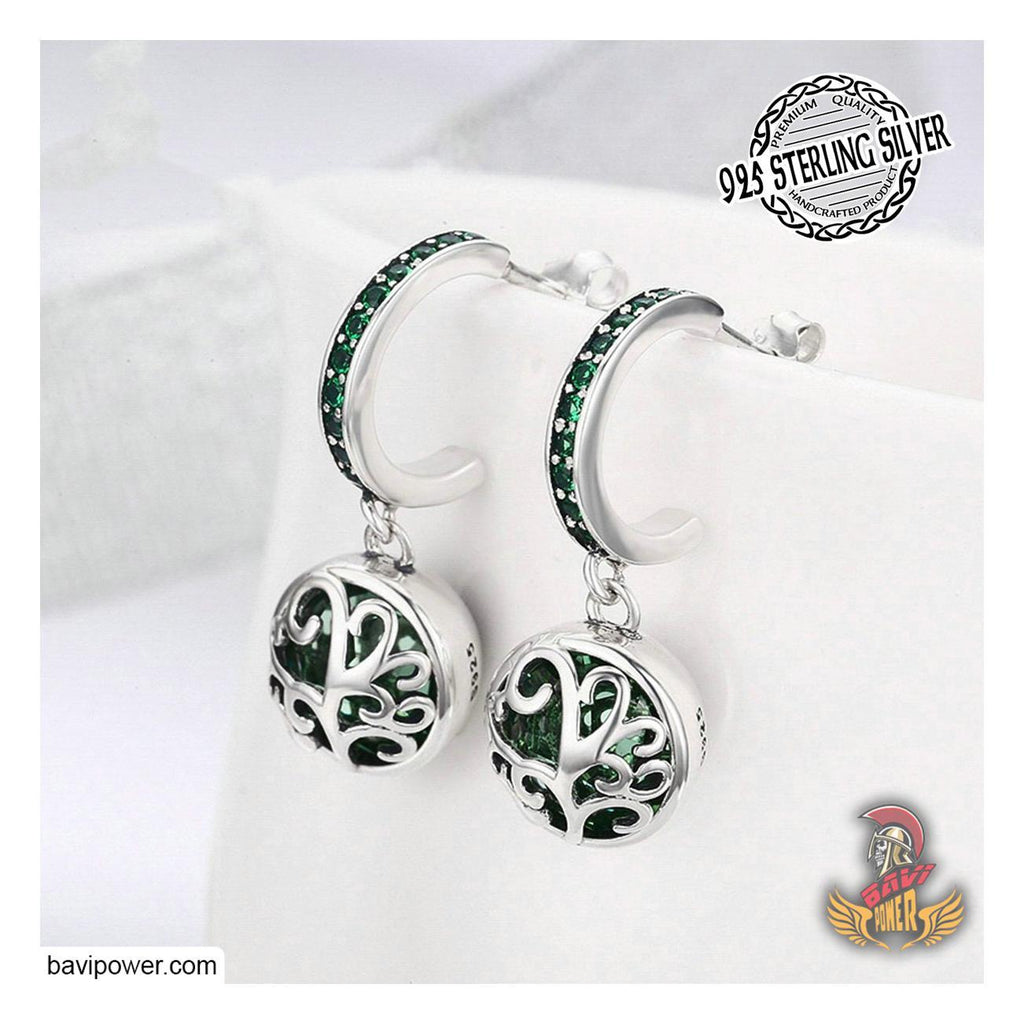 925 Sterling Silver Spring Green Tree of Life Earrings