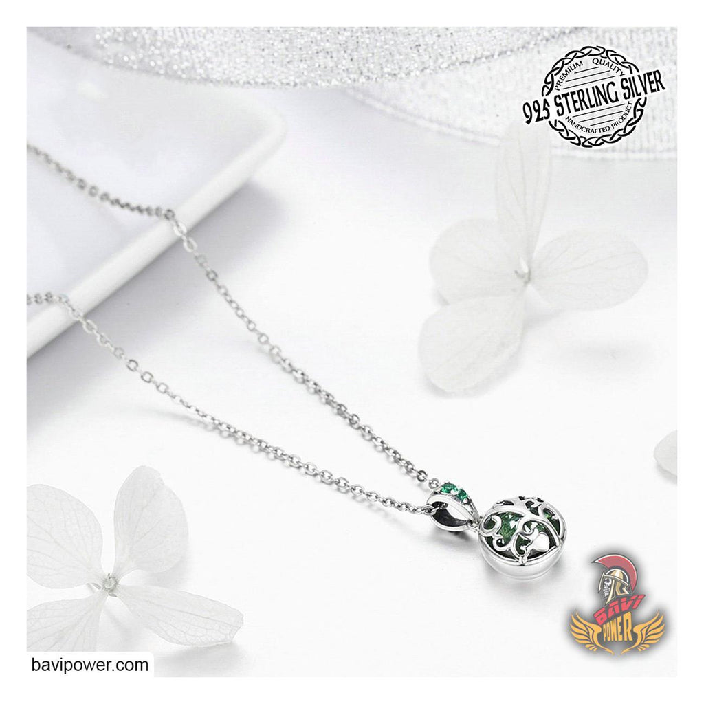 925 Sterling Silver Spring Green Tree of Life Necklace