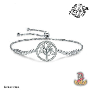 925 Sterling Silver Tree of Life Adjustable Bracelet