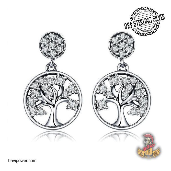 925 Sterling Silver Tree of Life Drop Earrings for Women