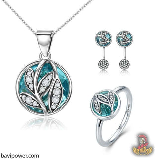 925 Sterling Silver Tree of Life Jewelry Set Necklace Earrings & Ring