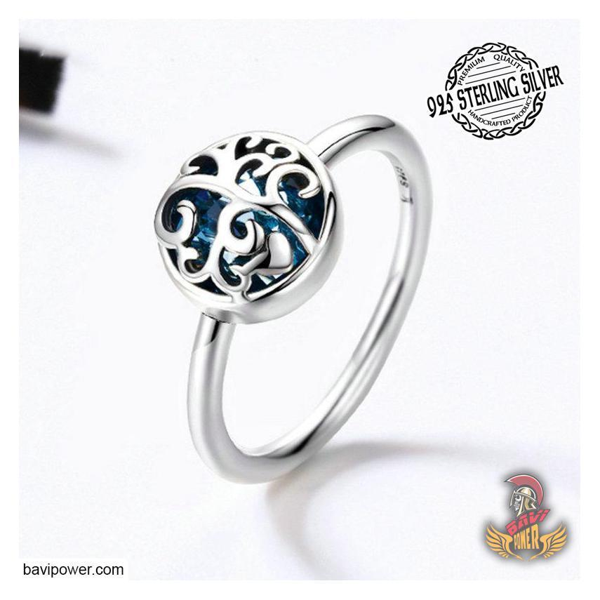 925 Sterling Silver Tree of Life with Blue Crystal Ring