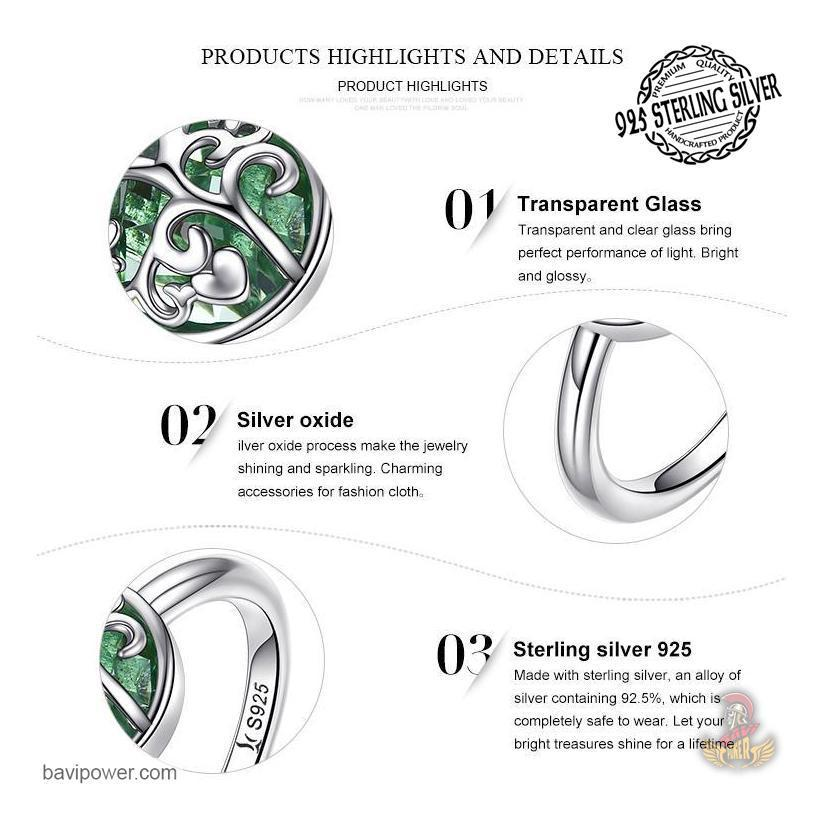 925 Sterling Silver Tree of Life with Green Crystal Ring