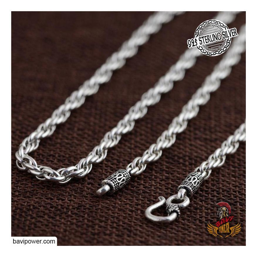 925 Sterling Silver Twisted Chain Necklace For Men