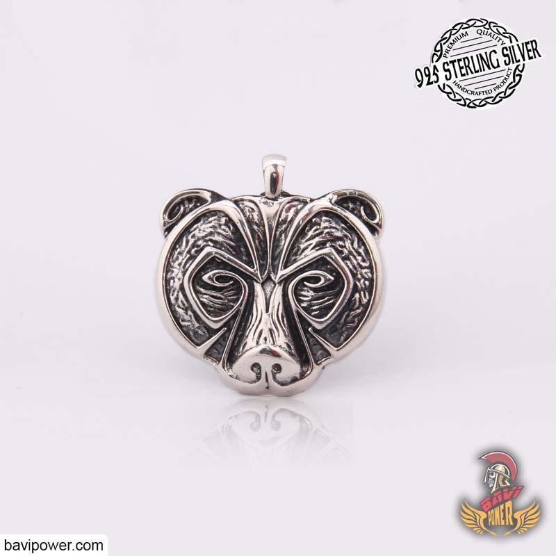 925 Sterling Silver Viking Bear Face Pendant