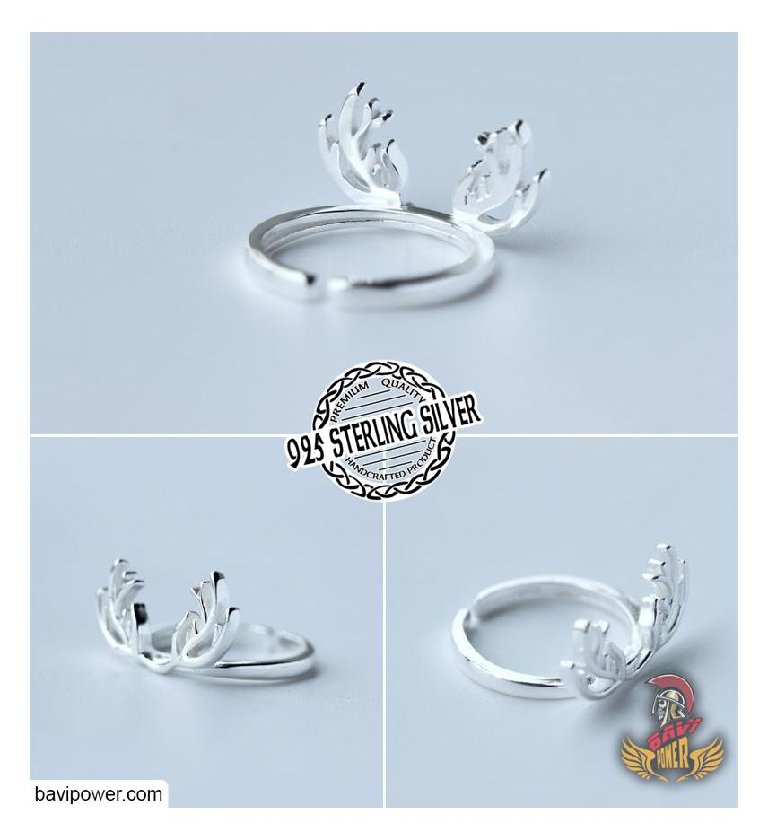 925 Sterling Silver Viking Deer Horn Rings for Girls