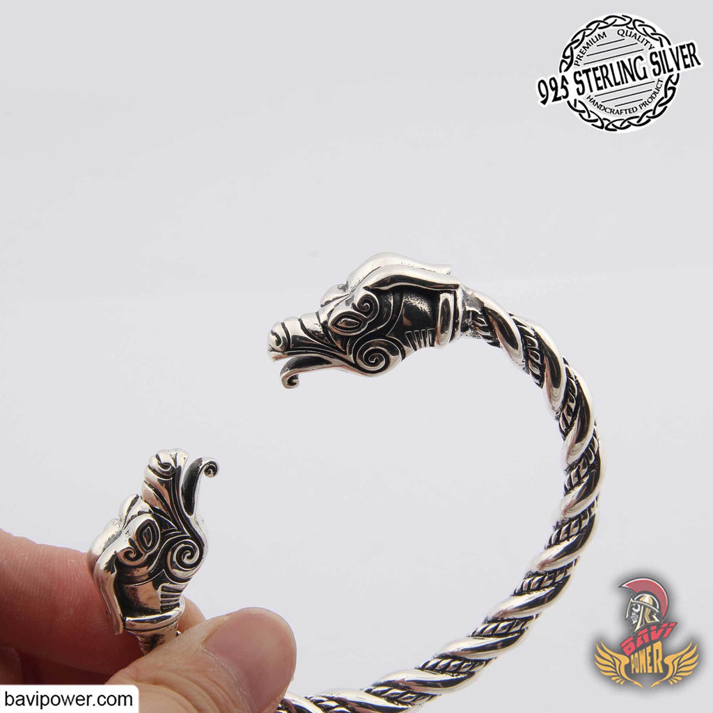 925 Sterling Silver Viking Eagle Head Bracelet