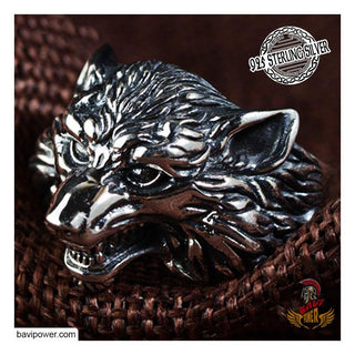 925 Sterling Silver Viking Fenrir Wolf Ring
