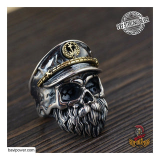 925 Sterling Silver Viking Pirate Captain Skull Ring