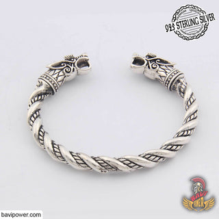925 Sterling Silver Viking Wolf Head Bracelet