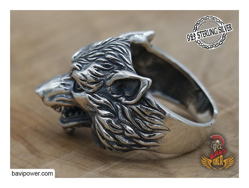 925 Sterling Silver Wolf Head Ring