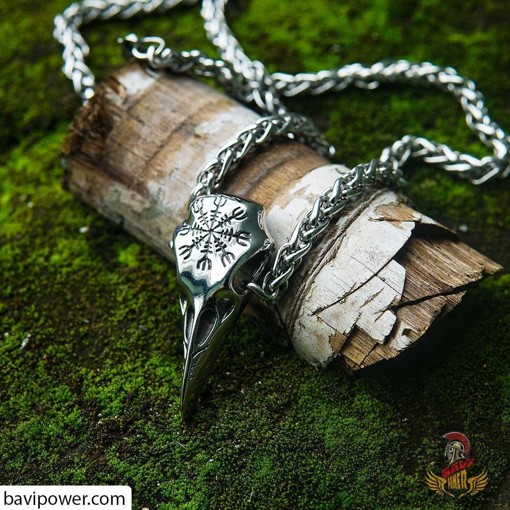 Aegishjalmur Raven Skull Necklace