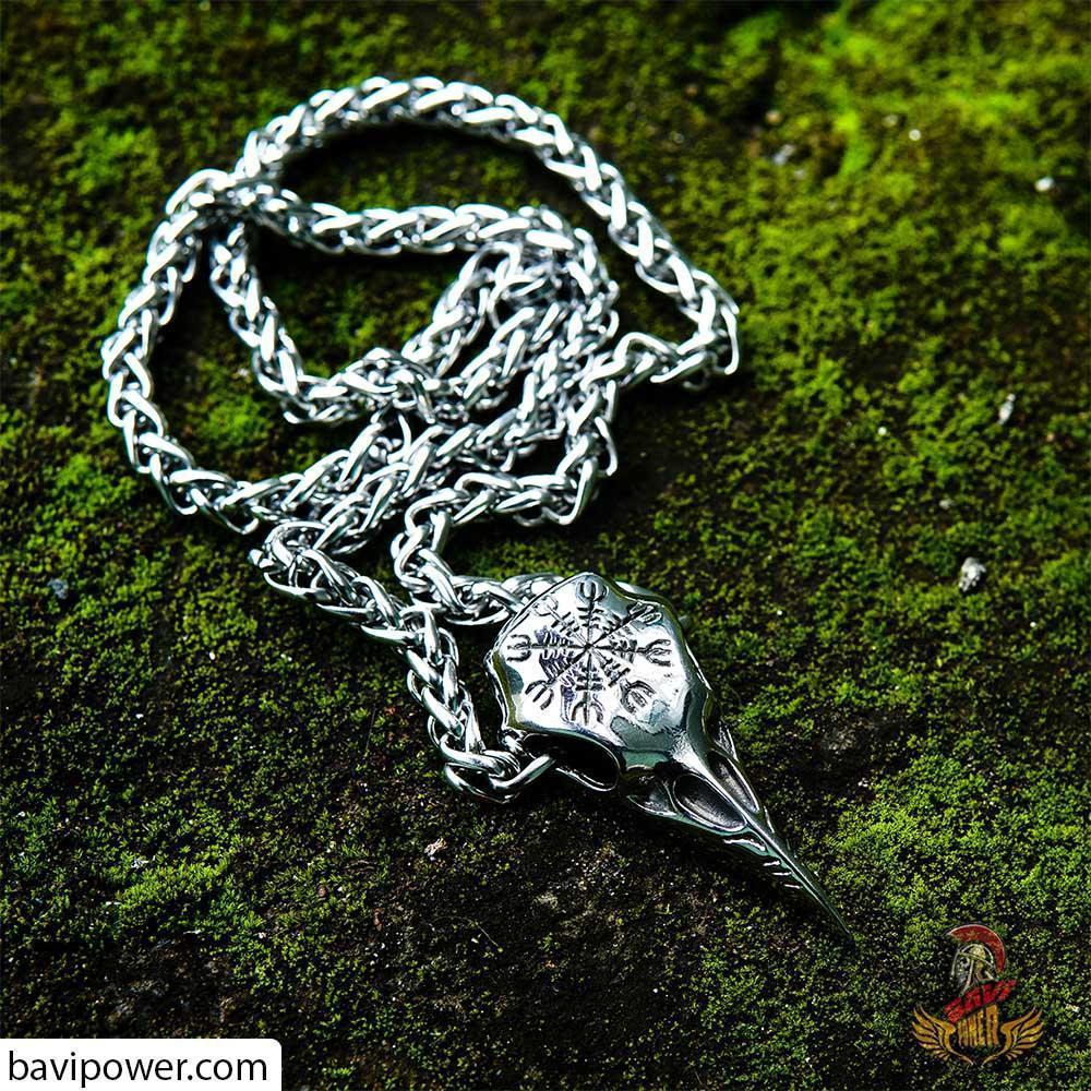 BaviPower Huginn Raven Skull Pendant Necklace Aegishjalmur The Helm Awe Symbol ♦ Stainless Steel ♦ Nordic Scandinavian Necklace ♦ Authentic Viking Jewelry