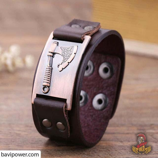 Battle Axe Genuine Leather Bangle Bracelet