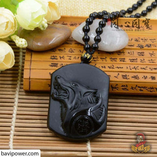 Black Obsidian Stone Wolf Pendant Necklace