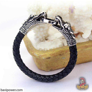 Braided Leather Dragon Bracelet