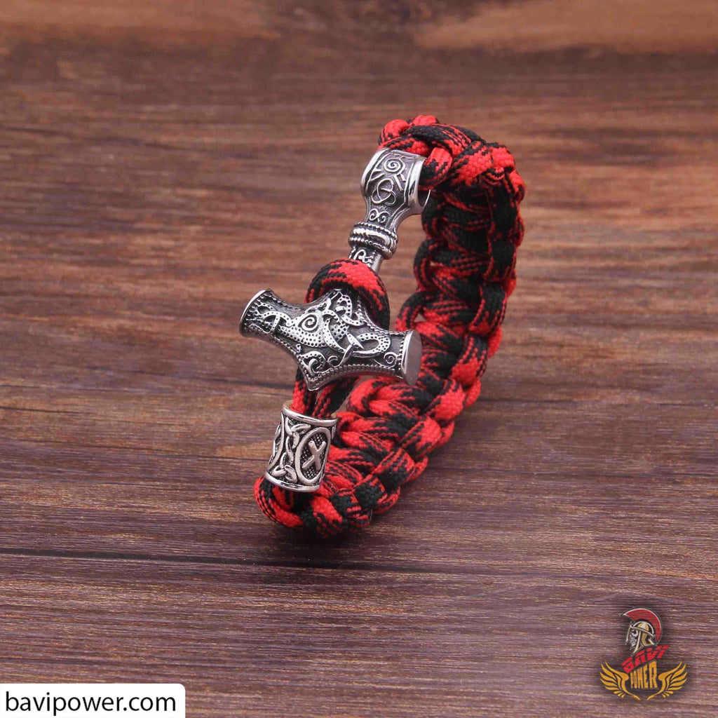 bavipower-viking-jewelry-Combo Thor Hammer 3 items: Necklace, Bracelet, Ring-other-BaViPower-red-18cm-50 cm-BaViPower