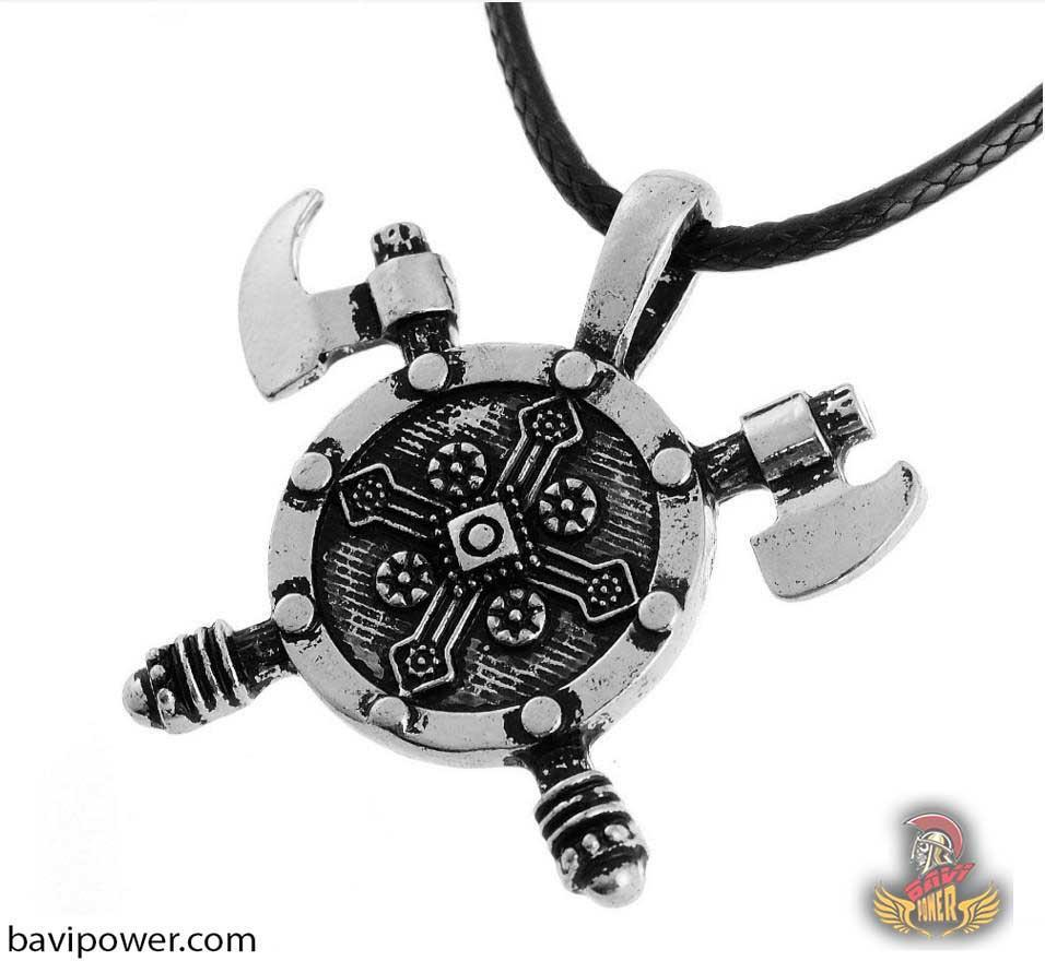 Double Viking Axe Shield Necklace