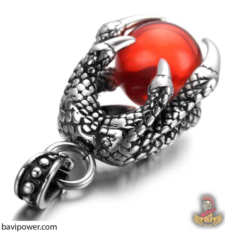Dragon Claw Holding Red Stone Pendant