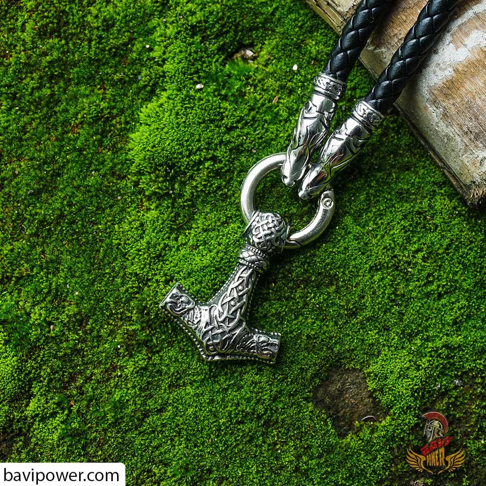 Fenrir Thor's Hammer Pendant Leather Necklace