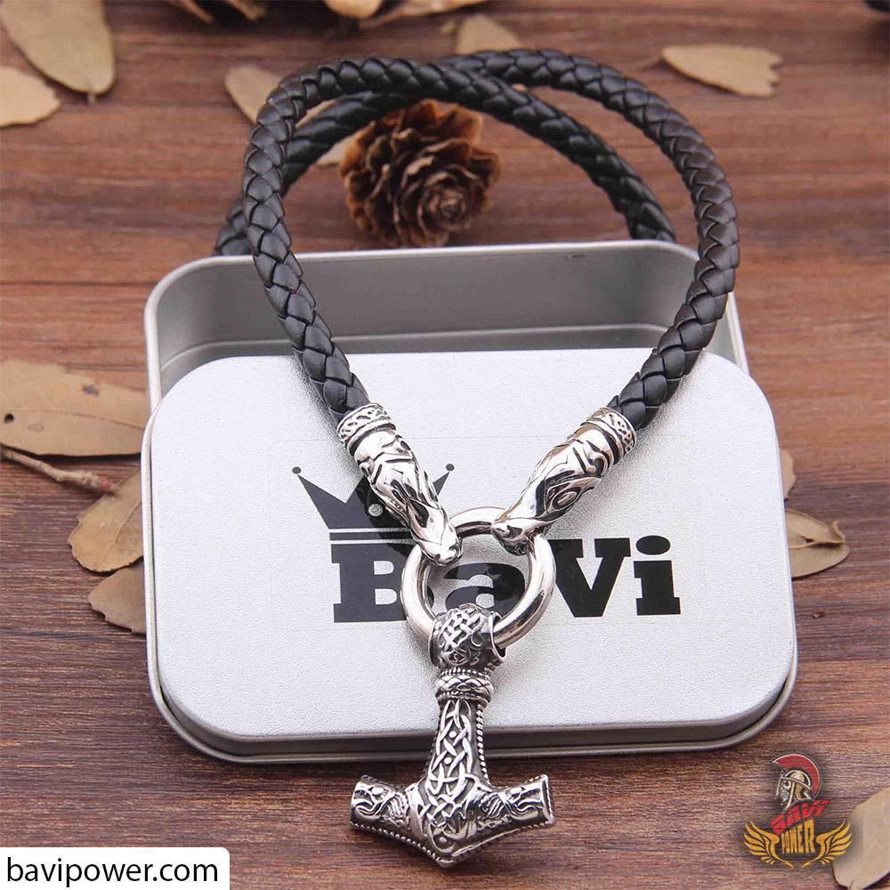 bavipower-viking-jewelry-Fenrir Thor's Hammer Pendant Leather Necklace-necklace-BaViPower-50 cm-BaViPower
