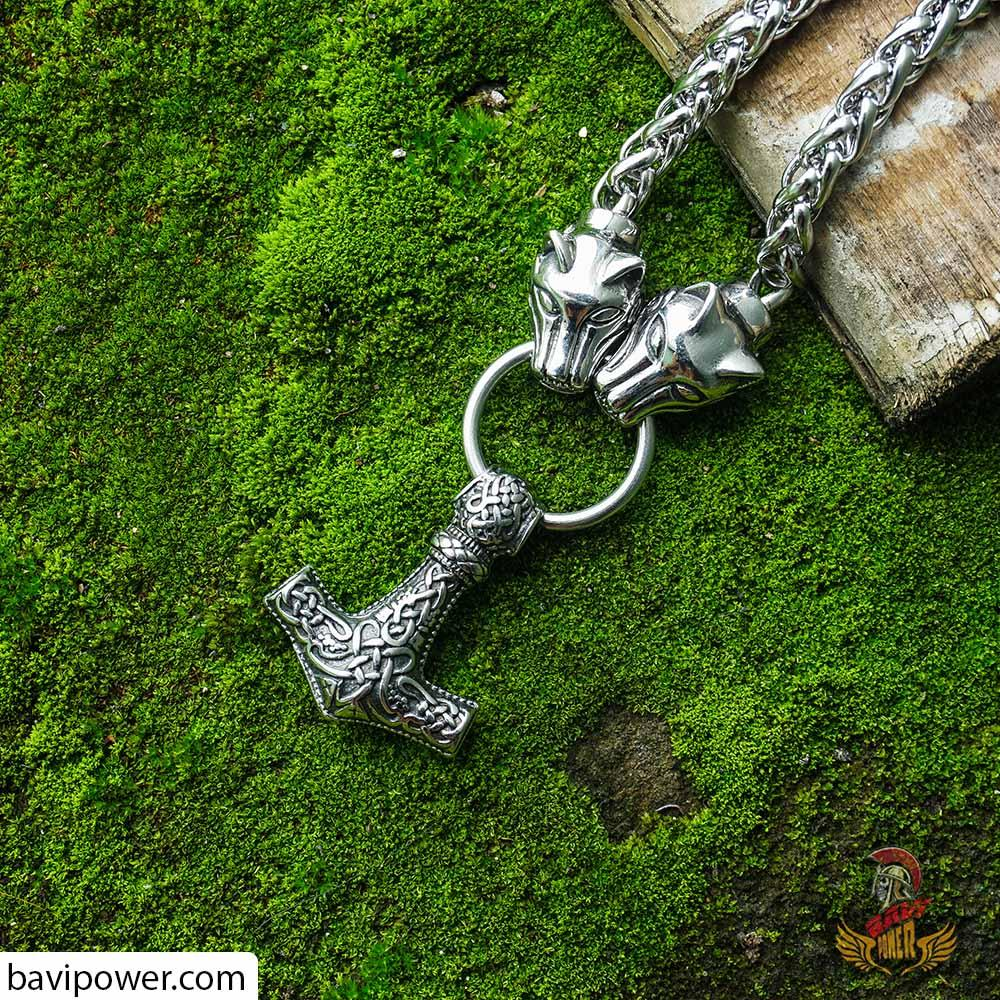 Fenrir Thor's Hammer with Wolf Chain Necklace