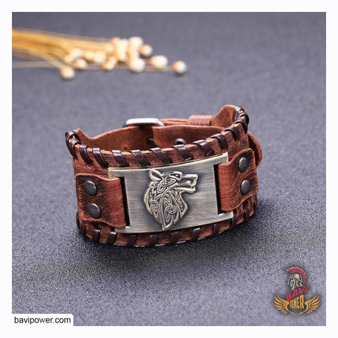 Fenrir Wolf Braided Genuine Leather Bangle Bracelet