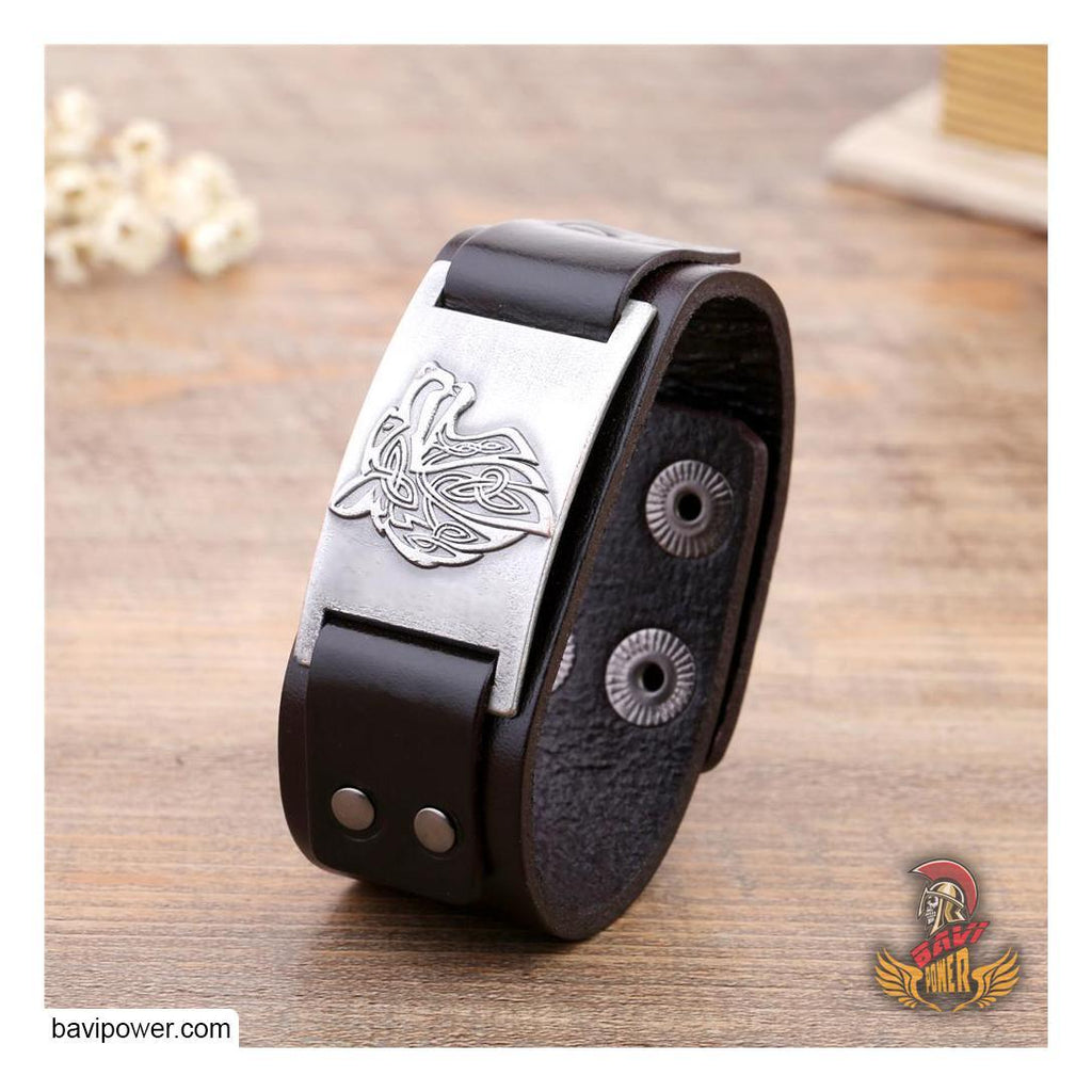 Fenrir Wolf Genuine Leather Bangle Bracelet