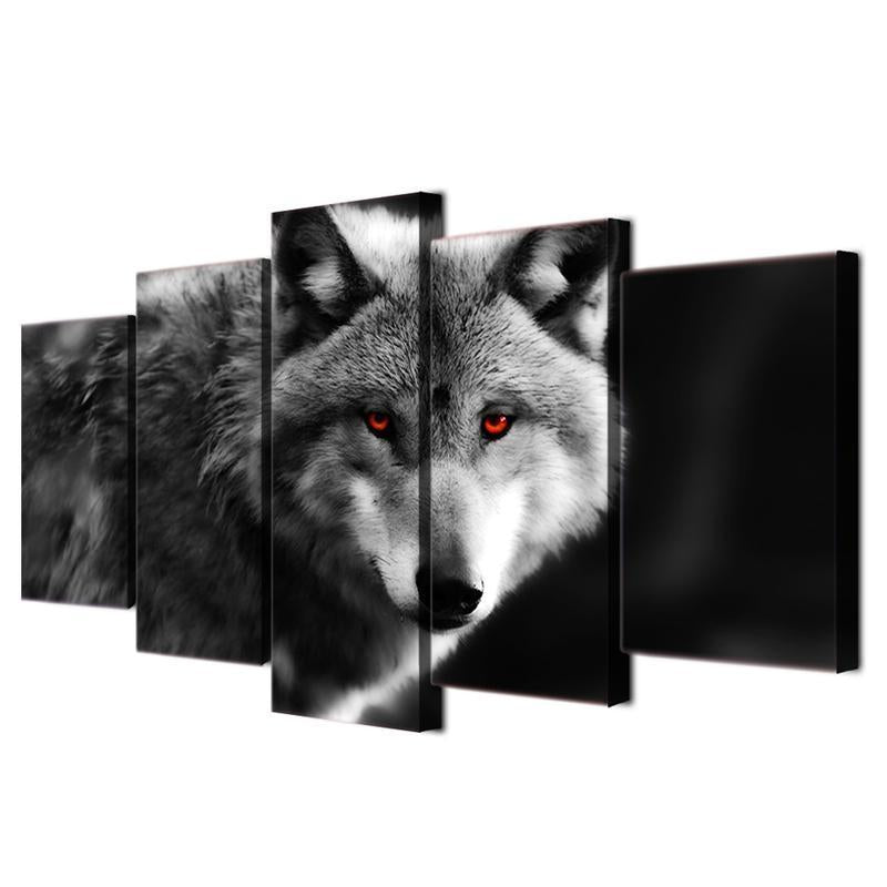 bavipower-viking-jewelry-Gray Wolf Wall Art Canvas 5 Pieces-wall canvas-BaViPower-Medium-No Frame-BaViPower