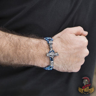 bavipower-viking-jewelry-Handmade Paracord Thor's Hammer Bracelet (3 colors)-bracelet-BaViPower-blue-18 cm-BaViPower