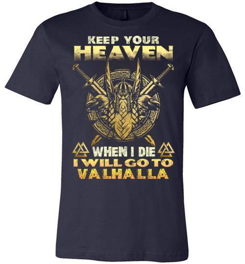 bavipower-viking-jewelry-Keep your heaven-BaViPower-Canvas Unisex T-Shirt-Navy-S-BaViPower